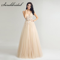 Champagne Tulle Vestido De Festa 2017 Long Sexy V Neck Backless Lace Applique Beads Evening Prom