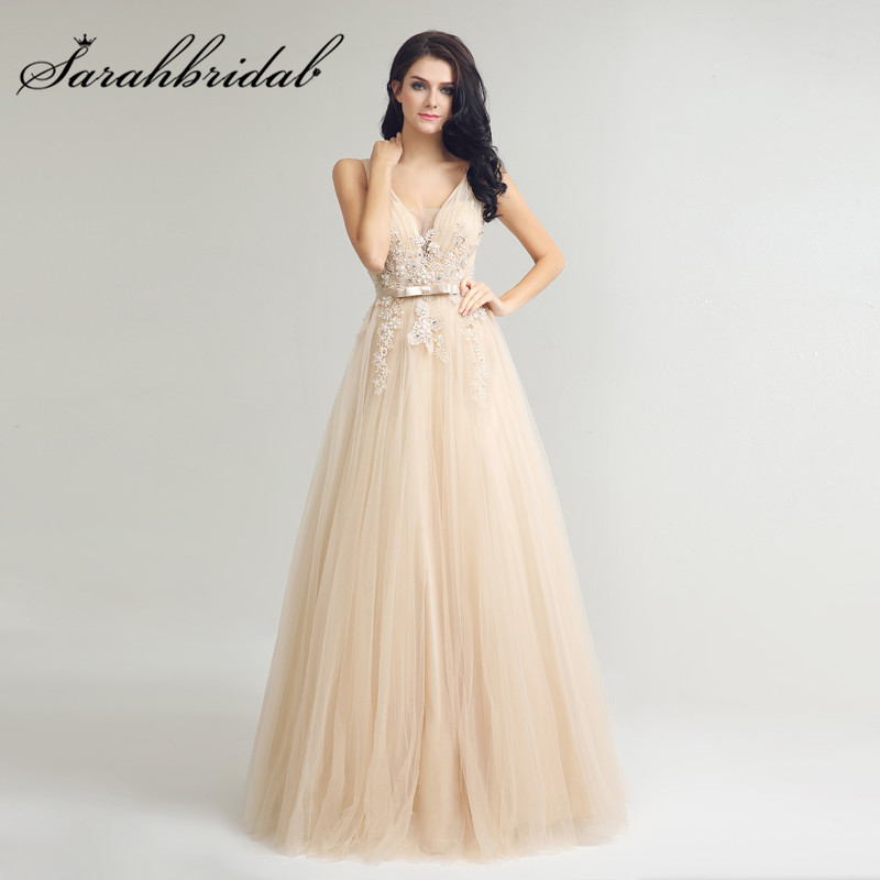 Champagne Long Evening Dresses Sexy V Neck Backless Lace Applique Tulle Beads Floor Length Prom Party Gowns CC242
