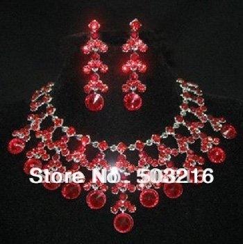 Alta calidad rodio cristalino promoción de moda joyería nupcial conjunto
