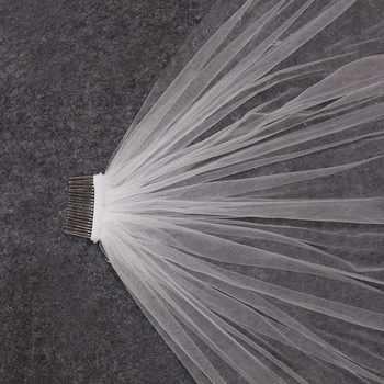 Real Photos One Layer Lace Appliques Short Wedding Veils with Comb White Ivory Bridal Veil Velo De Novia