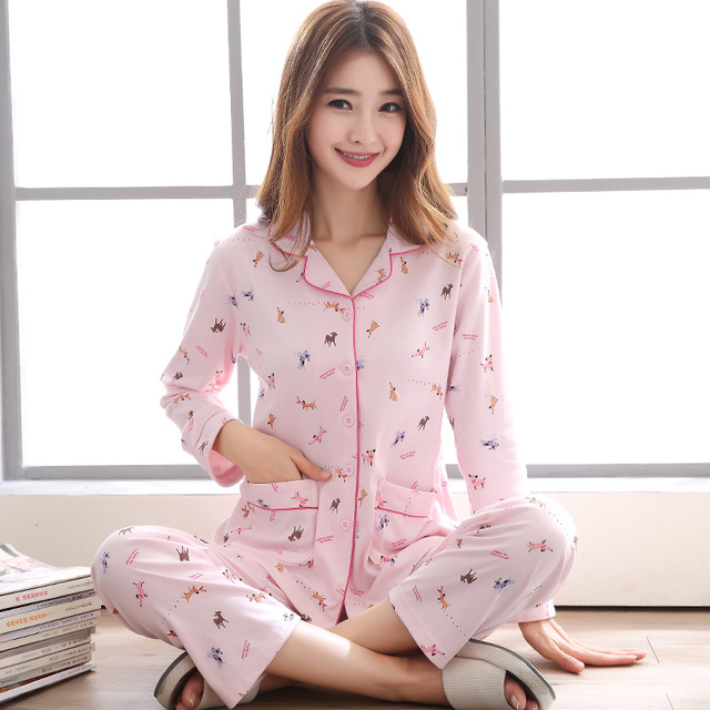 0237df7f32fb Spring Fall Long Sleeved Cotton Women s Pajamas Set M-XXXL Cute Animal Sleepwear  Girls Pink Pyjamas Mujer Lady Casual Home Wear
