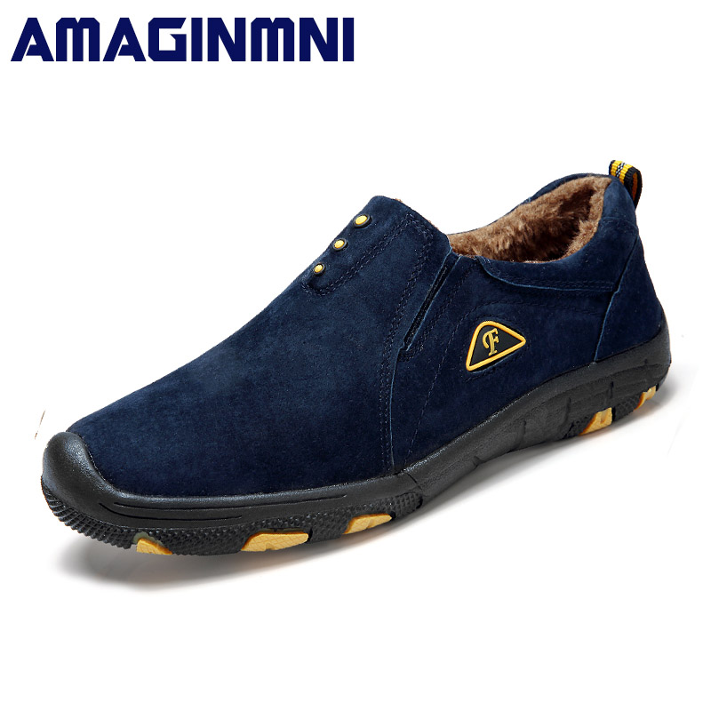 AMAGINMNI 2018 Hot Sale Winter shoes men Slip-on Fashion Causal shoes Superstar Men Loafers Warm cotton shoes