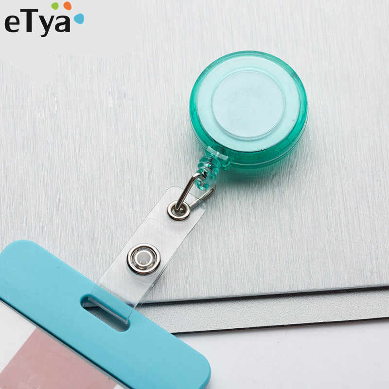 eTya Candy Colour ID Card Name Tag Holders Anti-Lost Clip Office Women Men Student Card Reel Retractable Badge Holder Clips