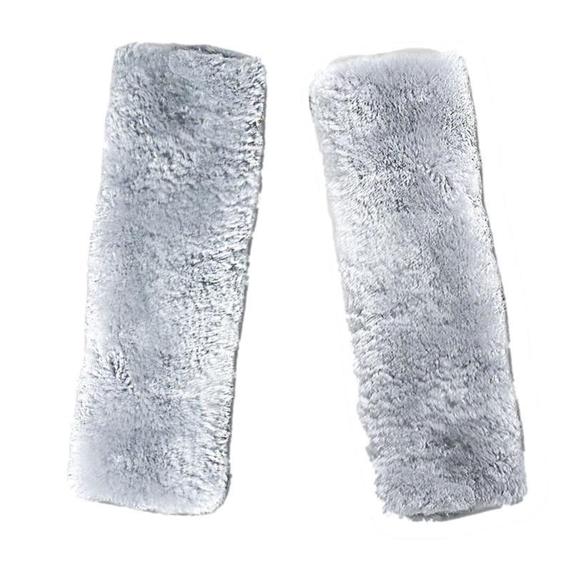 2PCS Car Auto Sheepskin Seat Belt Covers Shoulder Strap Pads Cushion Headrest