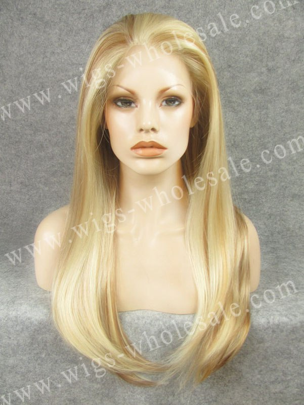 ФОТО Wholesale Heat Resistant Long Straight  Kim Kardashian Blonde Cheap Synthetic Lace Front Wigs