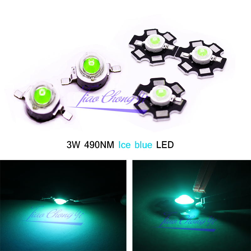 10 20 50 100pcs 3W High Power LED Lamp Ice Blue 480nm 490nm 3.2-2.6v 700mA Light-emitting