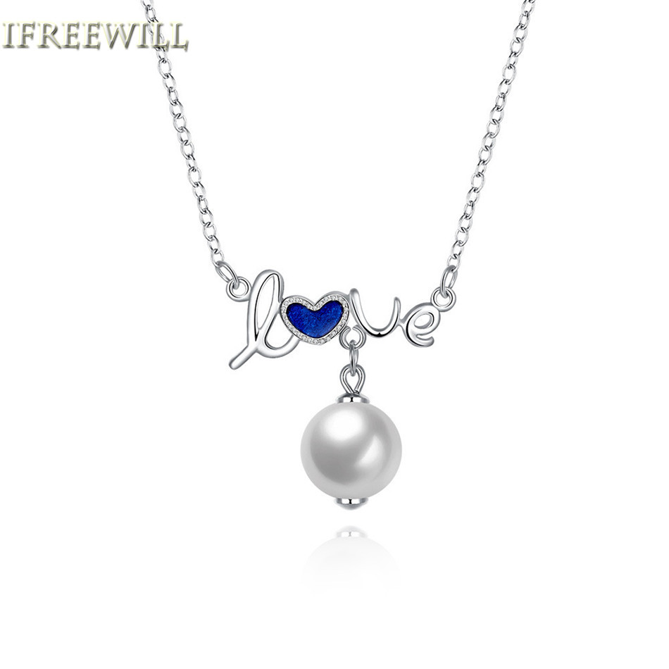 925 Silver Love Pearl Necklace Women Fashion Exquisite Luxurious Jewelry Girlfriend Birthd Gift