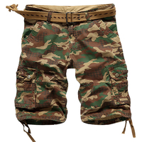 2017 Summer New Loose Cotton Military Shorts Multi Pockets Camouflage Cargo Shorts Mens