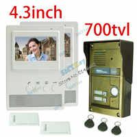 4.3 Inch LCD Screen Wired 1 camera + 2 monitor Video Intercom Doorbell 700TVL Waterproof Outdoor Camera