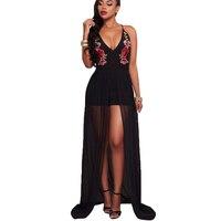 Fashion 2017 maxi jumper dress voor vrouwen zwart spaghetti deep plunge geborduurde sexy mesh floor lengte gown clubwear