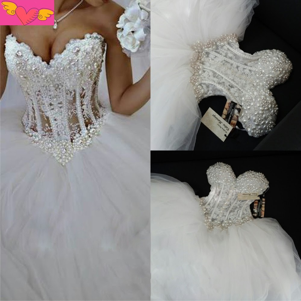 Real Picture White Princess Wedding Dresses See Through