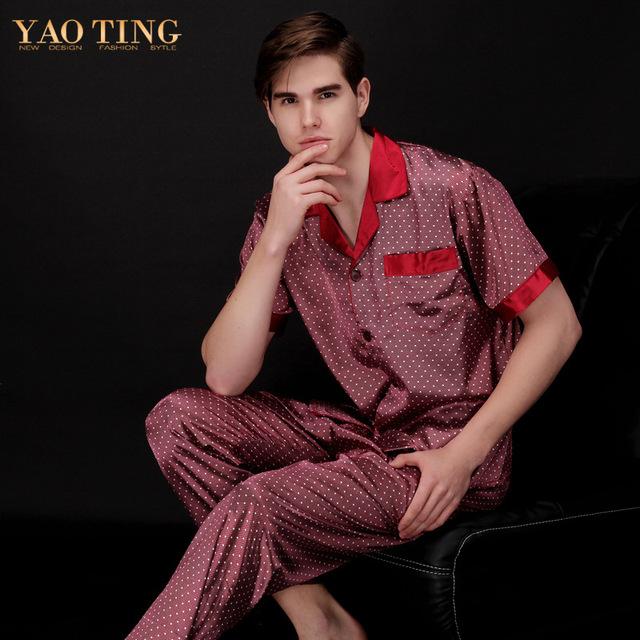2 Unids Mens de Satén de Seda Ropa de Dormir Pijamas Set Pijama pijama Hombres Batas Batas Para Hombre Ropa de Dormir Camisón Camisón TZ063