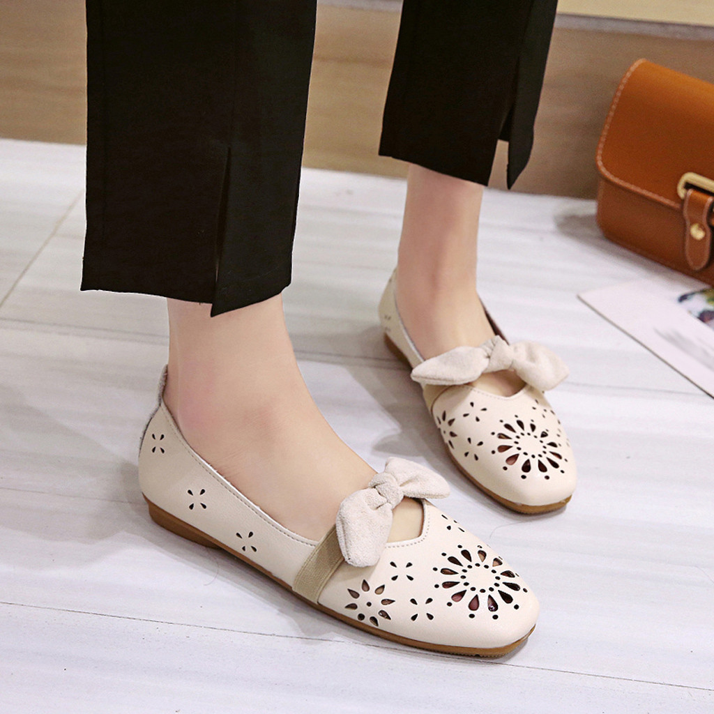 New Arrival Women's Flat Openwork Small Leather Shoes Square Head Shallow Bow Casual Shoes zapatos de mujer#DAA(China)