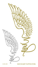 Water Transfer Tattoo Golden Gold English Eagle Wings Fake Glitter Metallic Temporary Tattoo Stickers For Womens Taty