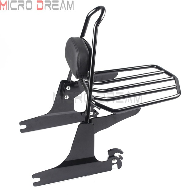 Motorcycle Detachable Sissy Bar Rack Luggage Passengers Backrest Pad Black For Harley Softail  FLSTF FXST FXSTB FXSTS  2006-Up