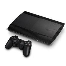 Carbon Faser Vinyl Haut Aufkleber Protector Für Sony PS3 Super Dünne 4000 Konsole und 2 Gamepad Controller Skins Aufkleber