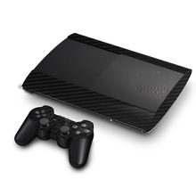 Protetor de adesivo de pele de vinil de fibra de carbono para sony ps3 super magro 4000 console e 2 controlador gamepad skins adesivos