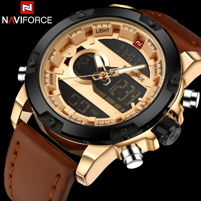 Dual Display Wristwatches Waterproof Alarm Leather Montre Homme 2018