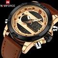 2017 mens relógios top de luxo da marca naviforce militar esporte de exibição dupla relógios de pulso à prova d' água homens relógio relógio digital de alarme