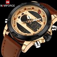 NAVIFORCEบุรุษยอดนาฬิกาแบรนด์หรูธุรกิจจอแสดงผลแบบDualนาฬิกาข้อมือกันน้ำปลุกหนังนาฬิกาผู้ชายm ontre h ...