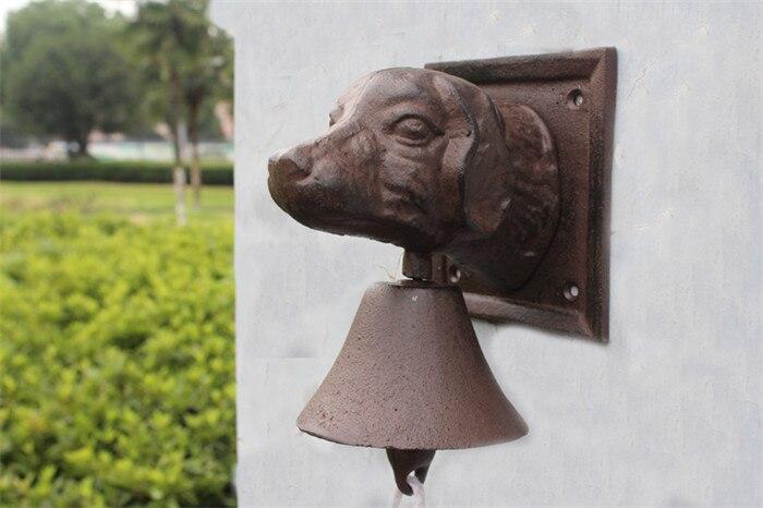 Винтажный чугунный дверной звонок с головой собаки, двухсторонний коричневый настенный металлический подвесной колокольчик, домик для дома, Декор для дома - 2