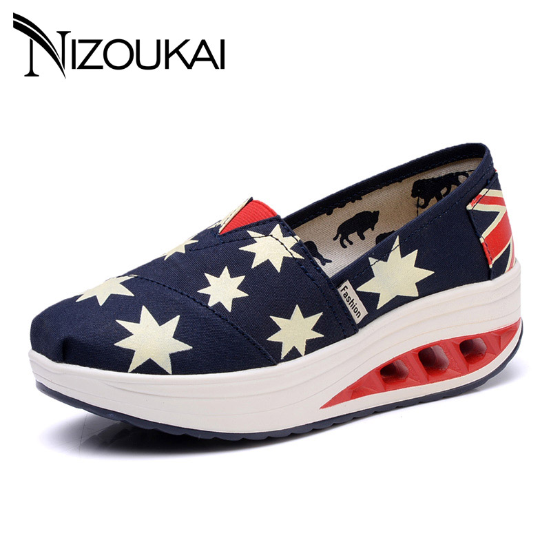 canvas Platform womens shoes 2018 spring summer womens fashion sneakers wedge light breather comfortable casual women shoes