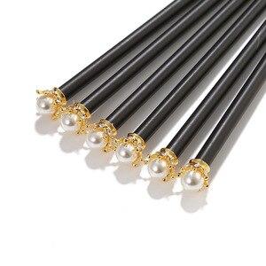 Image 2 - 20 stücke kawaii schwarz holz bleistift lot perle crown bleistift für schule büro schriftlich liefert koreanische HB standard bleistift großhandel