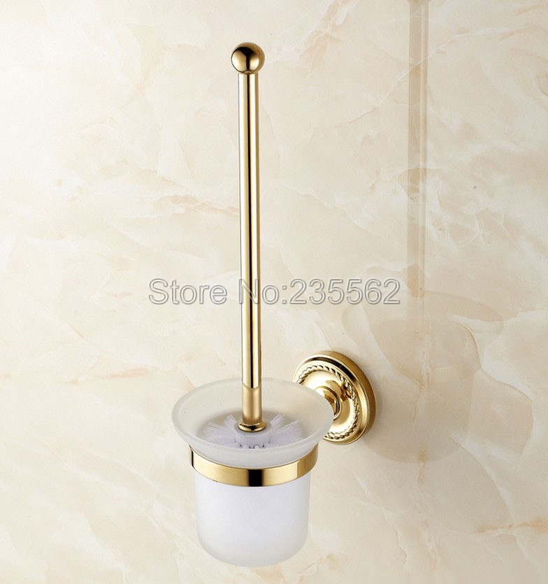 Wall Mounted Bathroom Toilet Brush Holder Gold Color Brass Finish with Glass Cup Set lba611