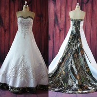 2017 Ball Gown Camo Wedding Dresses Strapless Lace Up Camouflage Appliques Embroidery Bride Bridal Gowns Custom Made Plus