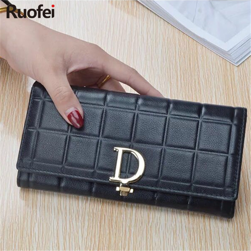 Fashion women Leather Purse Plaid Wallets Long Ladies Wallet Red Clutch Holder Coin Bag Female Wallet Girl new fashion women leather wallet deer head hasp clutch card holder purse zero wallet bag ladies casual long design wallets