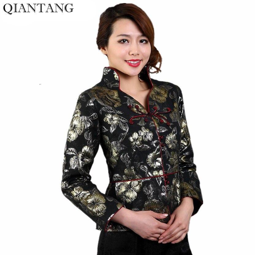 New Black Traditional China Classic style Jacket Women's Silk Satin Coat Flowers Mujeres Chaqueta Size S M L XL XXL XXXL Mny06-A