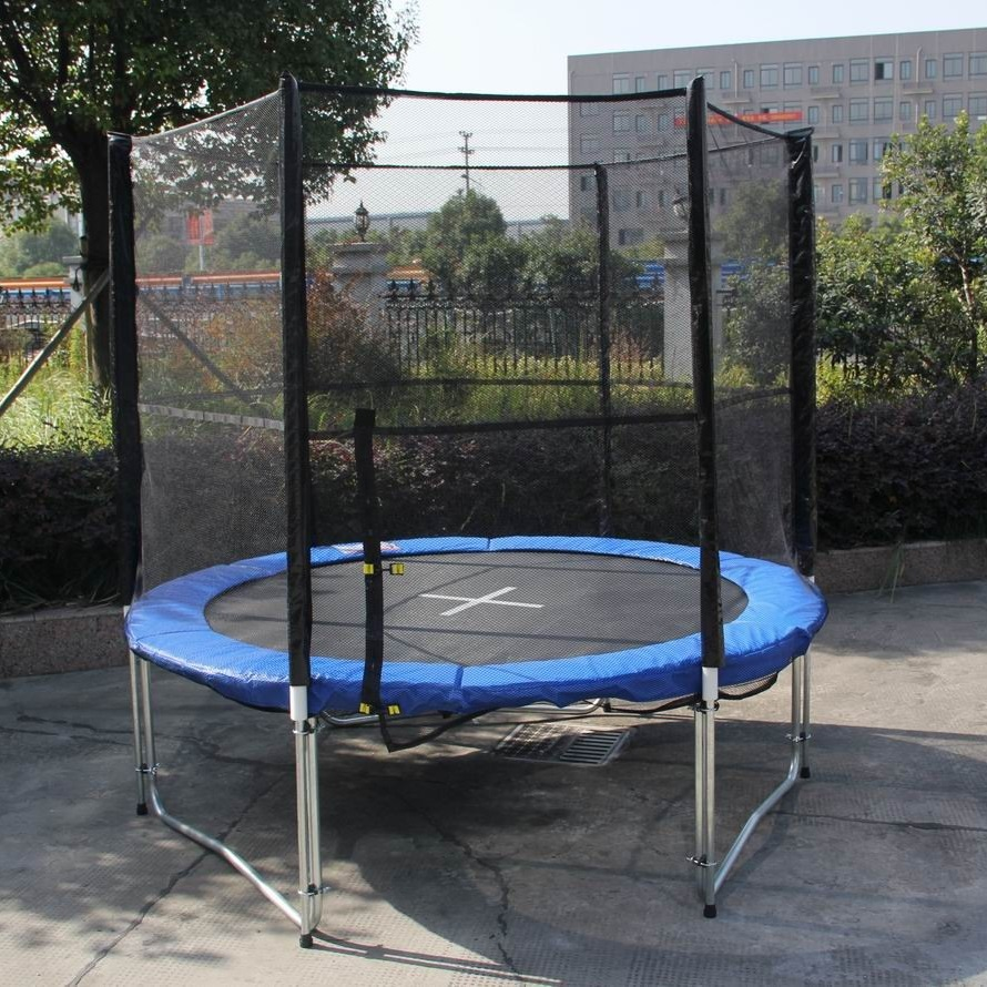 8' Round Trampoline With Safety Enclosure For Kids