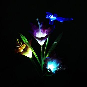 3Pcs Kleurrijke Solar Gazon Licht Lelie Led Vlinder Hummingbird Gazon Lamp Combinatie Simulatie Lelie Sets