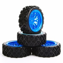 1/10 Tires Wheels and Rims Set 4Pcs/Set 1:10 Rally Racing Off Road Car Rubble HSP RC