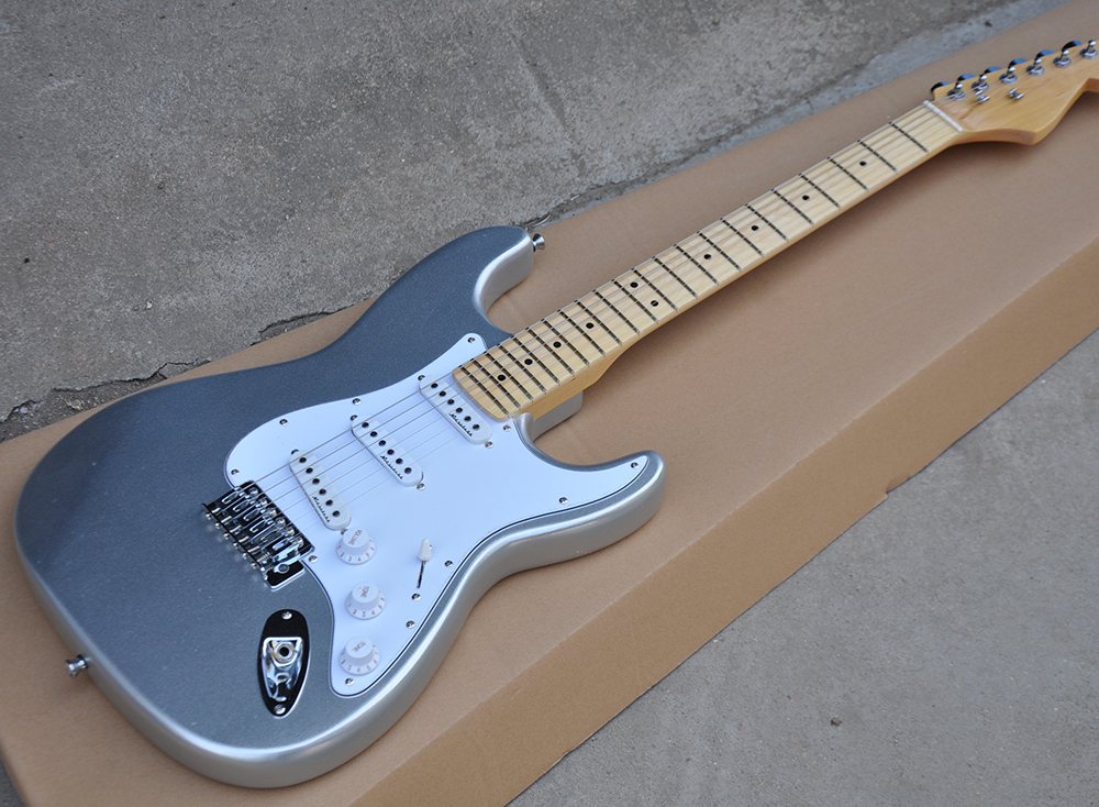 Silver Electric Guitar with White Pickguard,Maple Fretboard,SSS Pickups,22 Frets,Chrome Hardwares,offering customized servicesSilver Electric Guitar with White Pickguard,Maple Fretboard,SSS Pickups,22 Frets,Chrome Hardwares,offering customized services