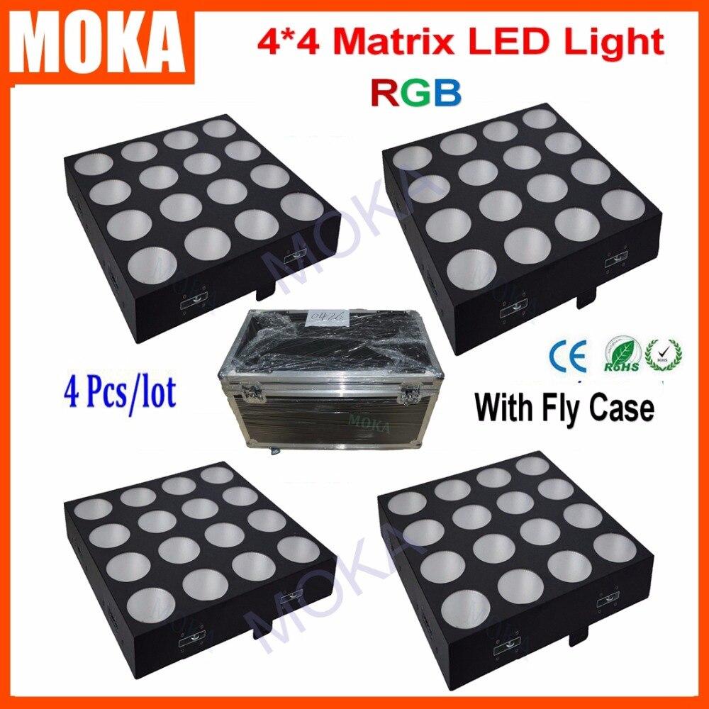 4PCS/LOT Free Fly Case Shipping 16*30W 4*4Led Matrix Bar RGB Color Mixing 3 IN 1 Wash Matrix COB DMX512 Light