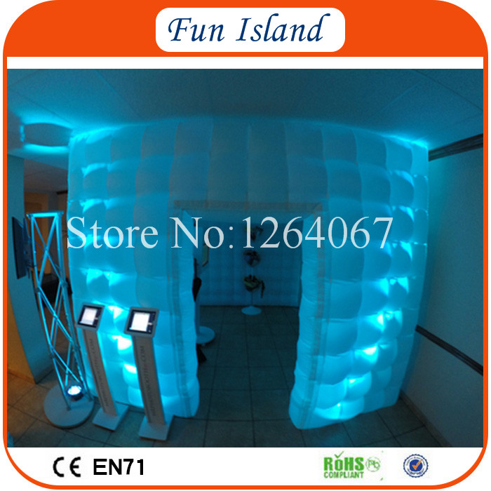 Free Shipping White Cube Portable Inflatable Photo Booth With Colorful LED Tube Lights Inside From Photo Booth Enclosure Factory  free shipping 3x3x2 4m inflatable photo booth cube inflatable photo booth led inflatable photo booth for sale