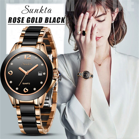 Pulseira de Cerâmica Relógio de Pulso Marca de Luxo Casual à Prova Topo Sunkta Novas Senhoras Relógio Dcasual Água Feminino Menina