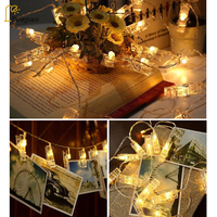 20 40 LED Garland Card Photo Clip Led String Fairy Lights Battery Operated Christmas Garlands Wedding