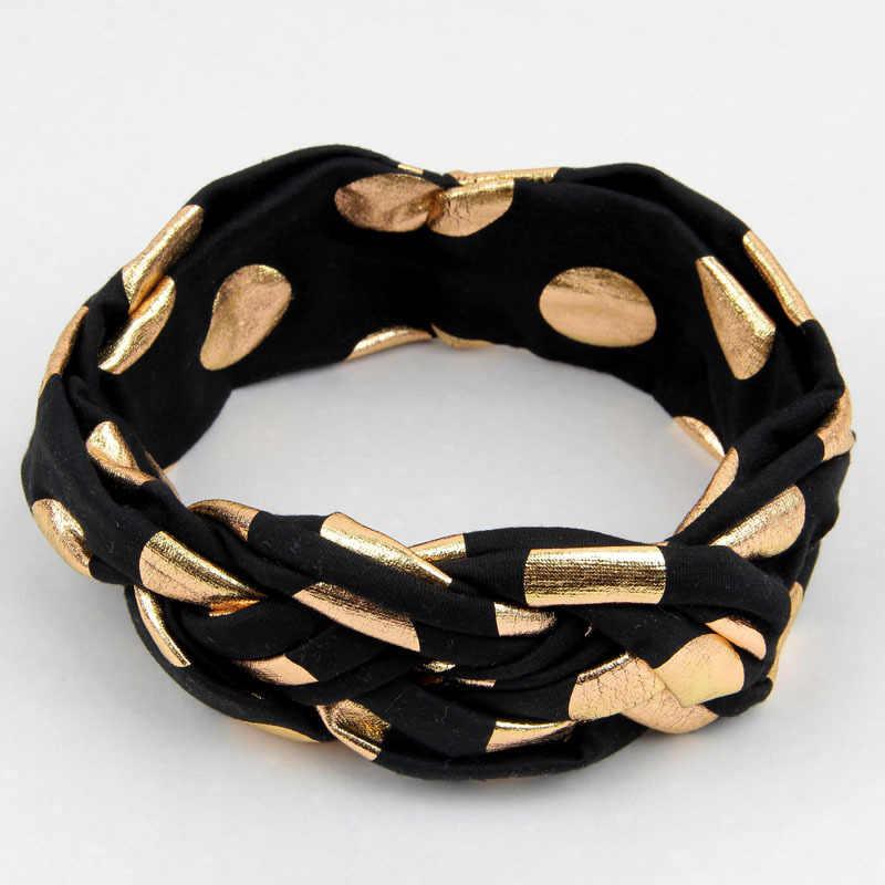 Yundfly головные уборы для новорожденных Золотые шорты для девочек с узором в горошек Твист повязка на голову с узлом детские повязки для волос Головные уборы Детские аксессуары для волос