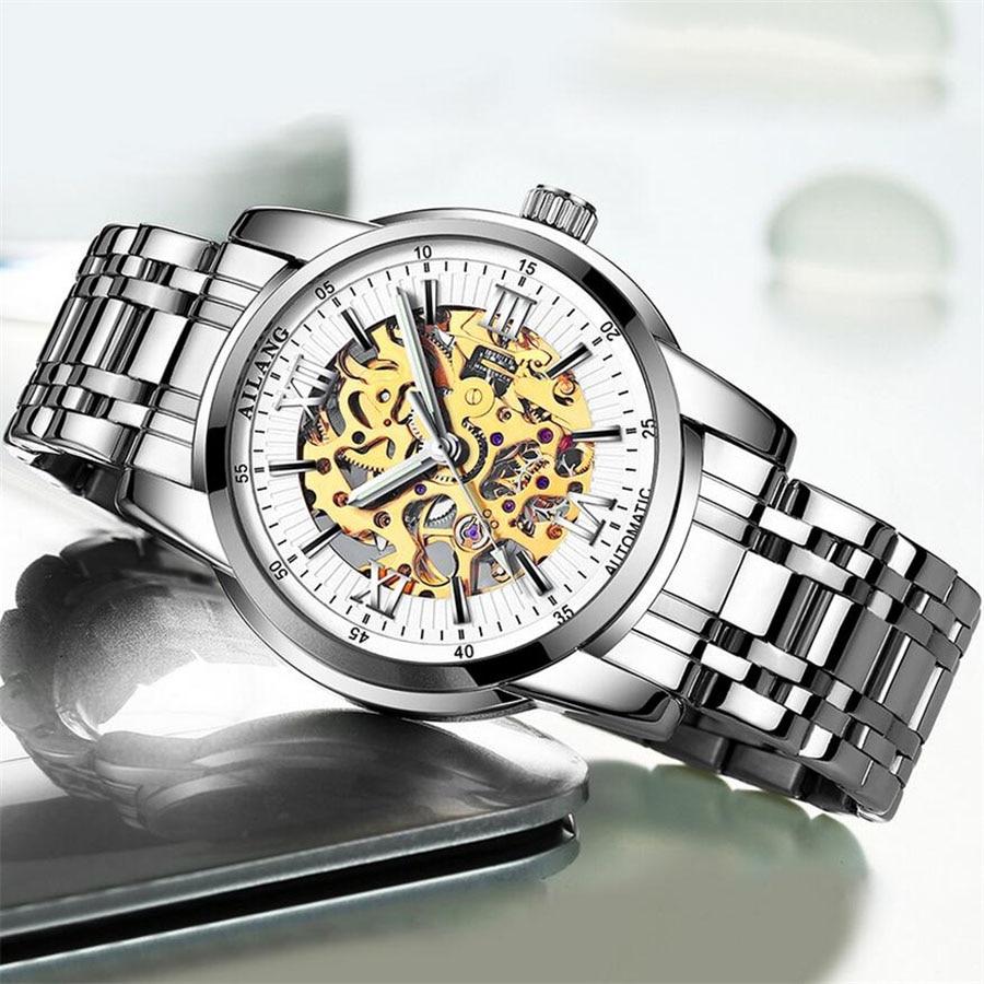 цена на Watches Men Skeleton Mechanical Watch Stainless Steel Strap Top Brand Luxury AILANG Wristwatch Horloges Mannen reloj hombre