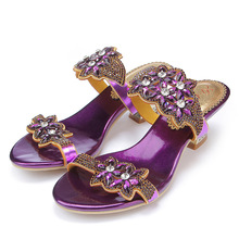 2016 Summer Diamond Purple Peep Toe High Heels Sandals For Sale Size 11 Hollow Female Korean Style Sexy Thick Womens Slippers