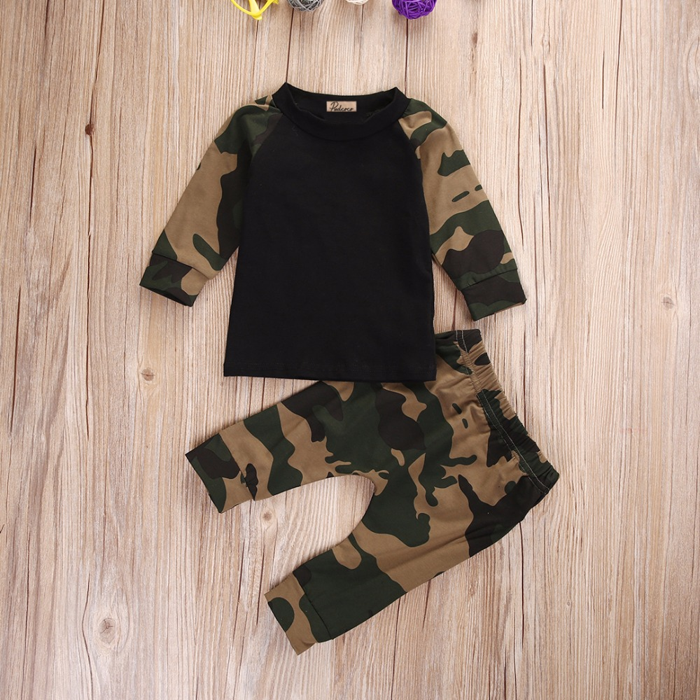 Autumn newborn toddler infant baby boys girls kids army for Green camo shirt outfit