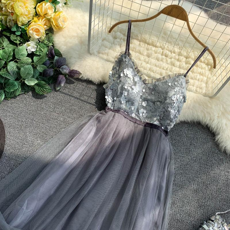 V-Neck Sequins Backless Sleeveless A-line Dress 8