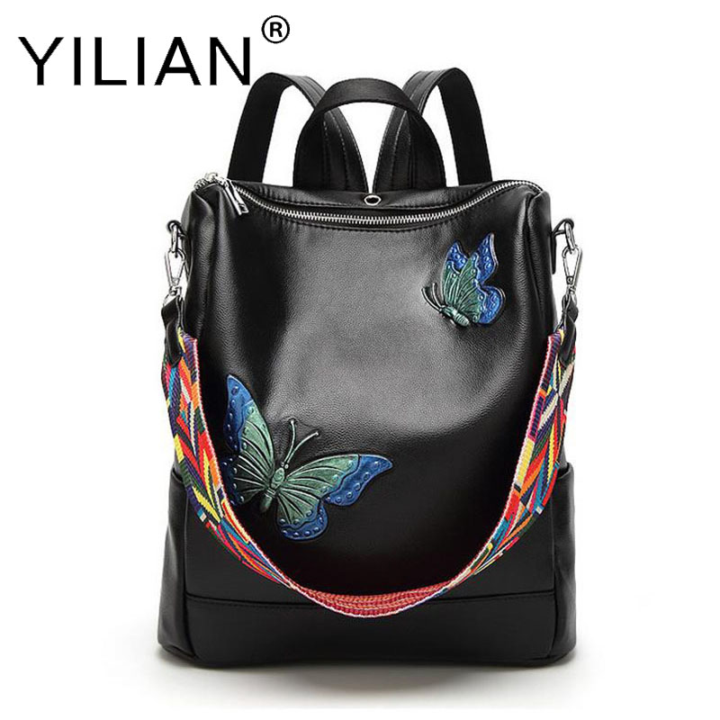 Women Backpack Fashion Butterfly Pu Leather Backpack Women Embroidery For Teenage Girls Brand Ladies Small Backpacks Black