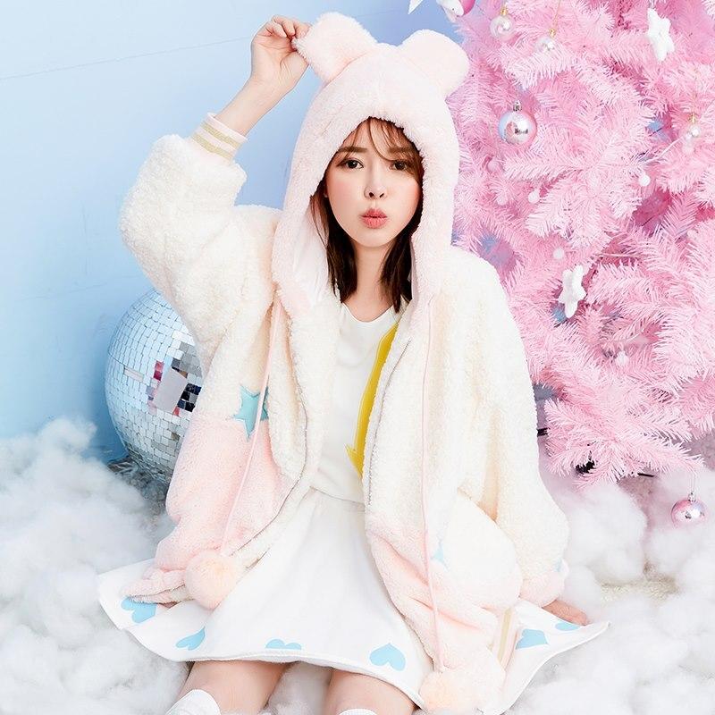 Princesse sweet lolita manteau Étoiles autocollants brodé asymétrique lapin ballon a touché couleur oreilles d'ours à capuchon chaud agneau laine manteau VC145