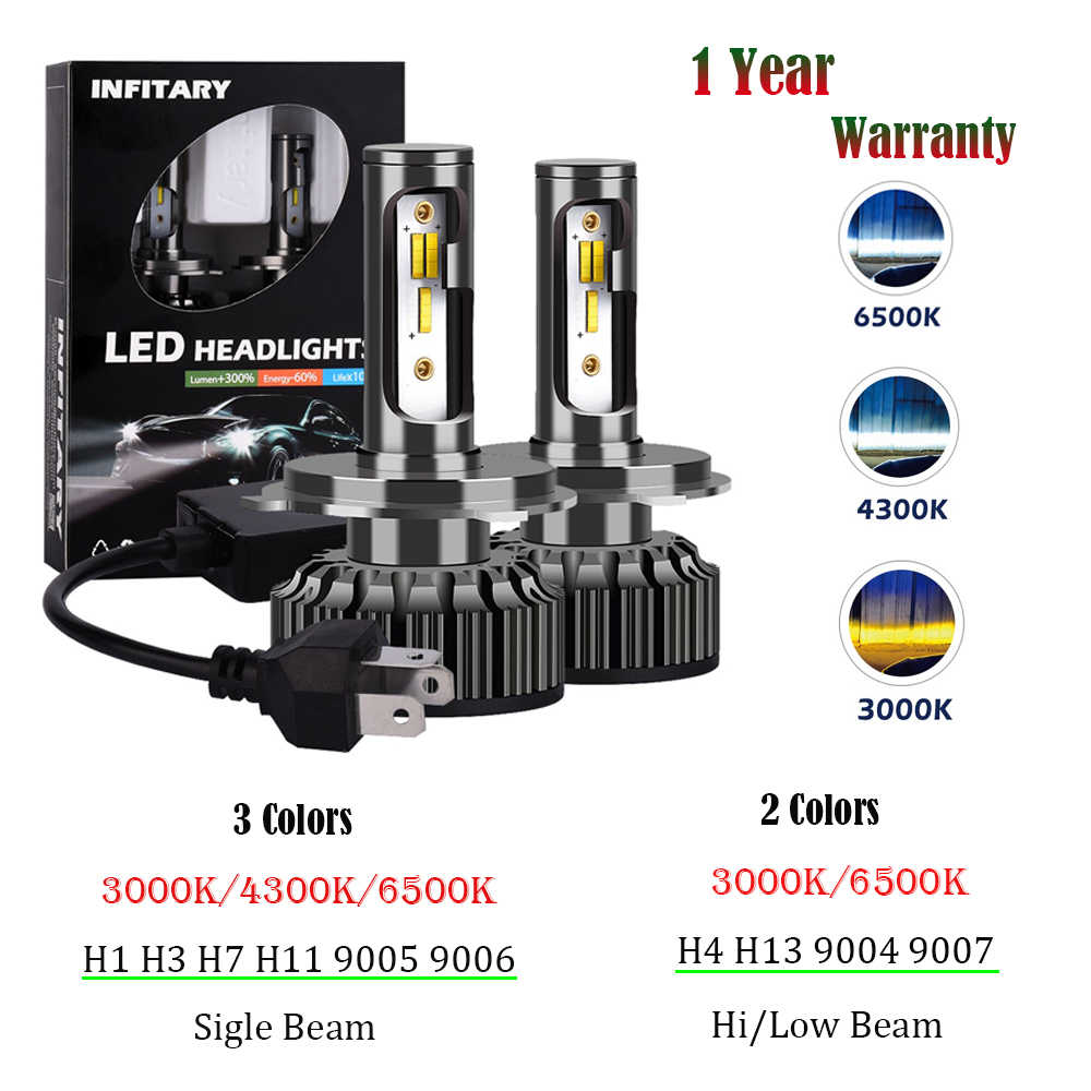 Infitary H7 Led H4 LED Headlight  H1 H3 H8 H11 9005 HB3 9006 HB4 9007 3000K 4300K 6500K 72W 8000LM Car Light