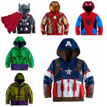 HOT Avengers Children Hoodies Spider-man Hulk Iron Man Captain America Girls Boys Hoodies Boys Outwear Sweatshirt Kids