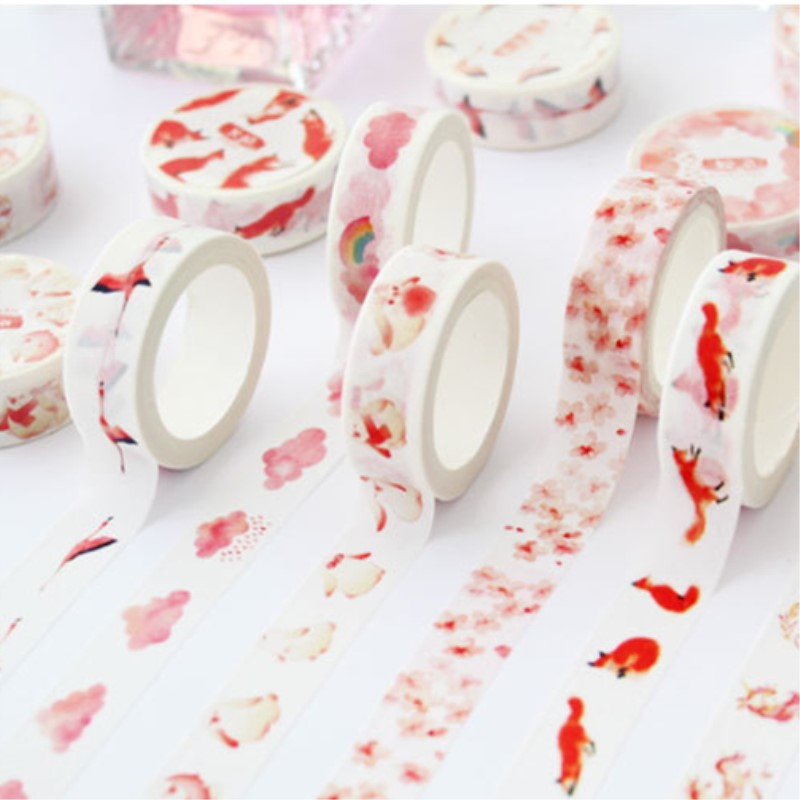Animals Floral Pink Washi Tape Japanese Stationery Masking Tape School Supplies Stickers Scrapbooking