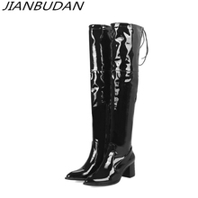 JIANBUDAN/ sexy thigh high boots High heel Womens Winter fashion over the knee quality patent leather